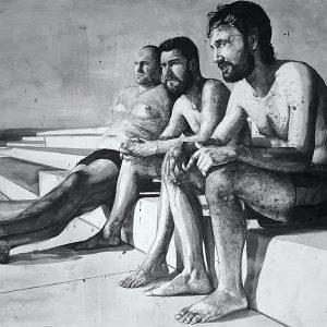 3-miran-sabic_trenutak-spoznaje_tus-i-akril-na-papiru_2013_215-x-150-cm